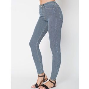 American Apparel High Rise Pin Stripe Skinny Jean
